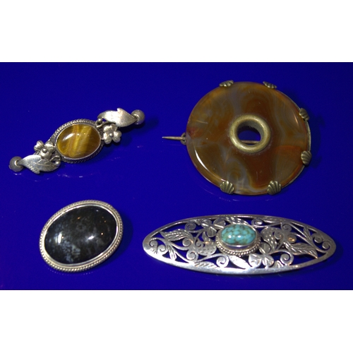 149 - Collection Of 4 Stone Set Brooches, 2 Stamped 925...