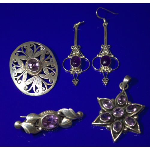 169 - Collection Of 2 Amethyst Coloured Stone Set Brooches, A Similar Pendant And Drop Earrings (One Needs...