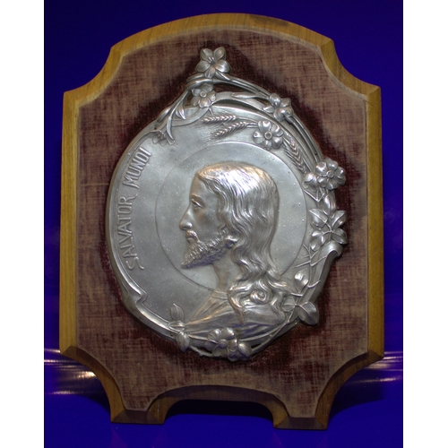 200 - Antique WMF Type Metal Plaque Of Jesus Salvator Mundi, Signed CH HAAG c1890's On Hinged Walnut Frame...