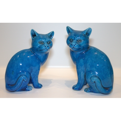 259 - Chinese - Early 20th Century Turquoise Blue Glaze Cat Figures ( 2 ) 6.25 Inches & 6 Inches High. Res...