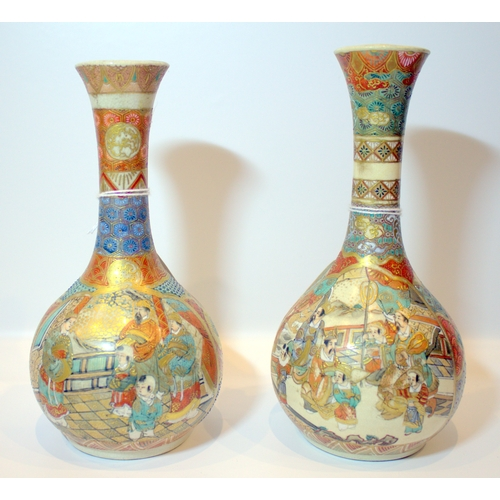 264 - Japanese - Well Decorated Pair of Satsuma Bottle Shaped Vases - Meiji Period, with Painted and Ename...