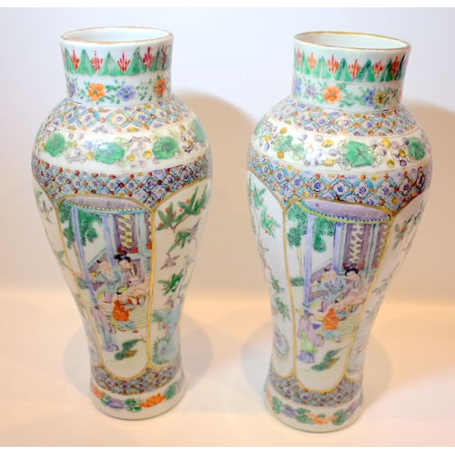 279 - Chinese 19th Century Pair of Famille Verte Hand Decorated / Painted Enamel Porcelain Vases with 3 Pa...