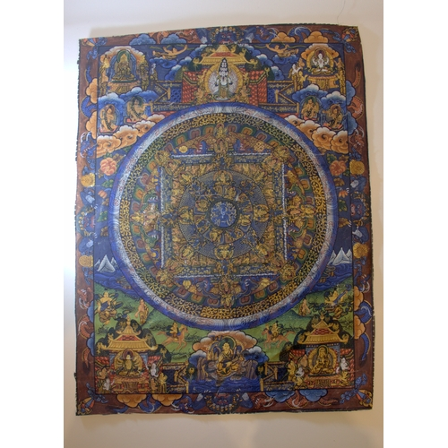 289 - A Fine Quality Hand Painted Tibetan Tanka Laid Out On Linen, Finely Detailed Buddah's 10x12 Inches...
