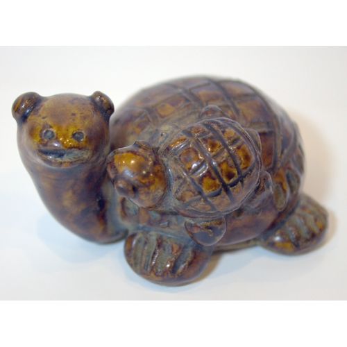 293 - 14/15thC Oriental Brown Glazed Pottery Turtle With Young...