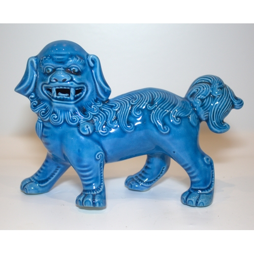 296 - Turquoise Glazed Chinese Standing Dog, 6.5 x 4.5 Inches...