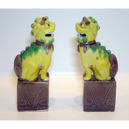 297 - Pair Of Small Antique Chinese Temple Dogs With Famille Verte Coloured Glaze, Height 6 Inches...