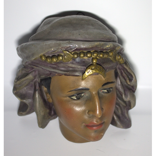 454 - Antique Gold Pottery Cold Painted Head Of An Arab Girl, Finely Painted, 7 x 7 Inches...