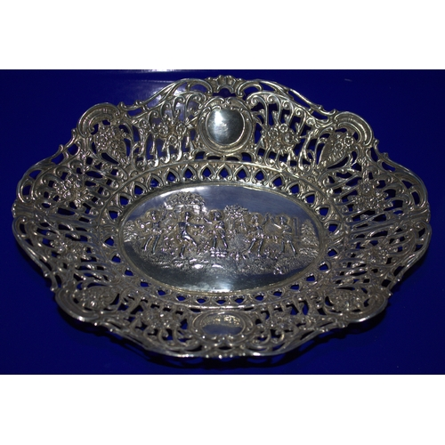 12 - Continental Silver Bowl, Shaped Edge With Pierced Border And Embossed Figural Cherub Centre, 9 x 7 I...