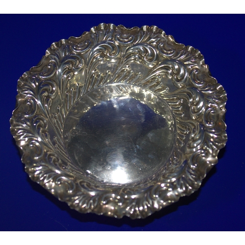 19 - Silver Embossed Dish, Acanthus Decoration,  London Hallmark Rubbed, Diameter 4.75 Inches...