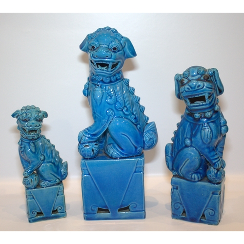 298 - Three Antique Chinese Turquoise Glazed Temple Dogs, Largest Height 10 Inches...