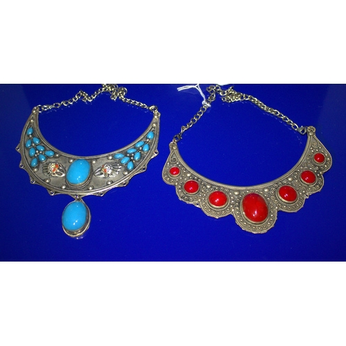 117 - 2 Middle Eastern Low Grade Silvered Metal Crescent Shaped Necklaces, With Turquoise And Agate Style ...
