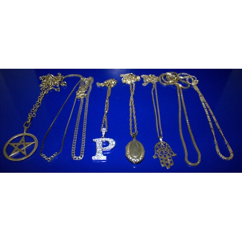 154 - Collection Of 8 Silver Chains, Various Designs And Lengths Together With 3 Silver Pendants And A Sil...