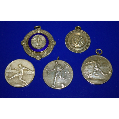 194 - Five White Metal Football Medals, Engraved To Backs Inter-Hospitals Football Tournament Winners 1952...