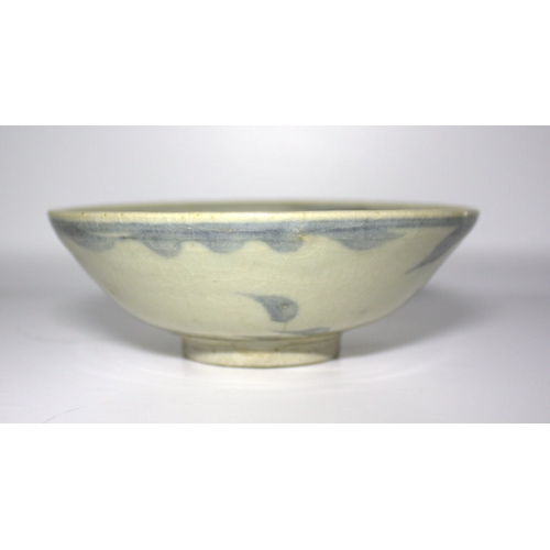 303 - Ming Chinese Export Shallow Bowl, Crackle Celadon Glaze With Underglaze Blue Decoration, Unglazed Ce...