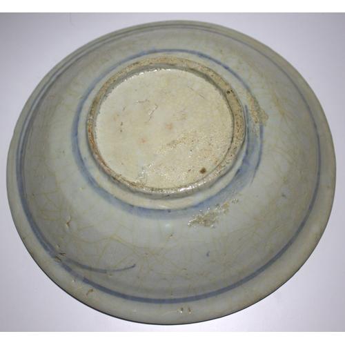 305 - Late 17thC Chinese Export Shallow Bowl, Crackle Celadon Glaze With Underglaze Blue Decoration, Diame...
