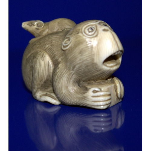 310 - Japanese Finely Carved Ivory Netsuke Depicting A Monkey/Baboon With A Rat On It's Back, Signed To Ba...