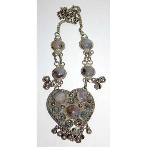 314 - Silvered Metal Middle Eastern Heart Shaped Pendant With Agate Cabouchons With Matching Chain...