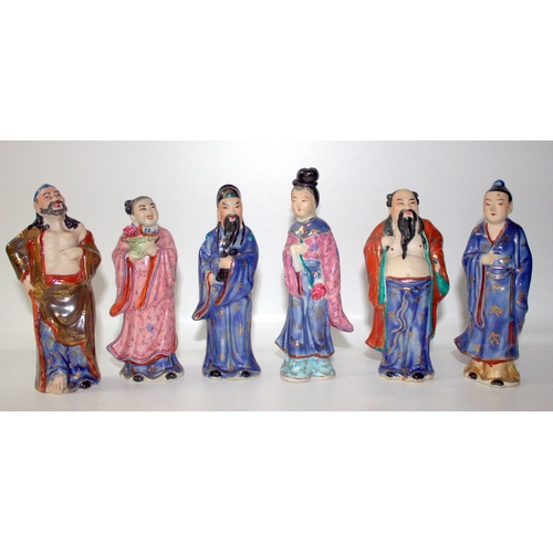 315 - Set Of 6 Chinese Republican Period Deity Figures With Biscuit Decorated Bodies Wearing Coloured Glaz...