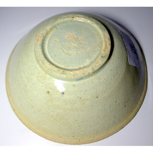 317 - Chinese Celadon Crackle Glazed Song Period Shallow Bowl, With Unglazed edges, Footed Rim. Diameter 6...