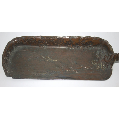 318 - Japanese Meiji Period Bronzed Crumb Scoop, Dragon Motif To The Handle And Flying Geese To The Pan, L...