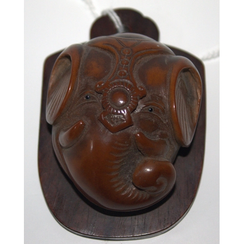 321 - Rare Japanese Carved Elephant Head With Horn Eyes, Probably Carved Horn Bust On a Hard Wood Backing ...