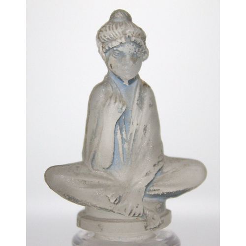 442 - French Lalique Style Scent Bottle, With Figural Blue Wash Stopper Depicting A Seated Arab Girl, Cush...