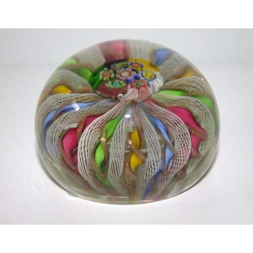 446 - Spiral Stem Glass Paperweight, Possibly French...
