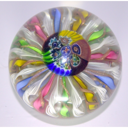 447 - Spiral Stem Glass Paperweight, Possibly French...