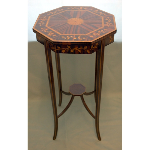 681 - Small Rosewood Urn Table With Profusely Inlaid Top, Fine Quality With Delicate Proportions...