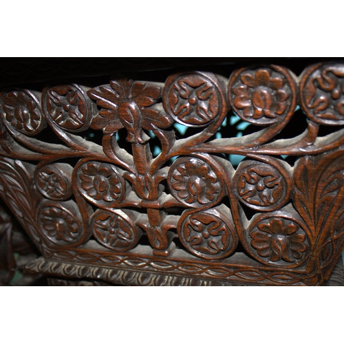 679 - Anglo Indian Carved Rosewood Ladies Work Box, Profusely Carved With Animals Amongst Foliage With A D...