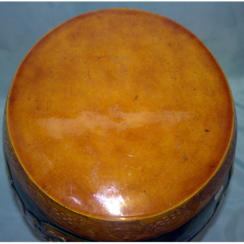287 - Antique Chinese Barrel Garden Stool, Marks On Inside, Height 18