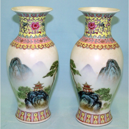 324 - Pair Of Chinese Republic Period Vases, Finely Decorated With A Mountainous Landscape With Pagoda & F...