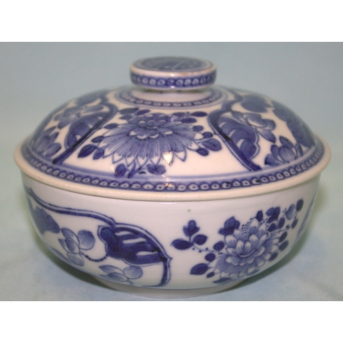 325 - 17th/18thC Chinese kangxi Period Blue And White Lidded Bowl, Decorated With Peonies And Water Lilly,...