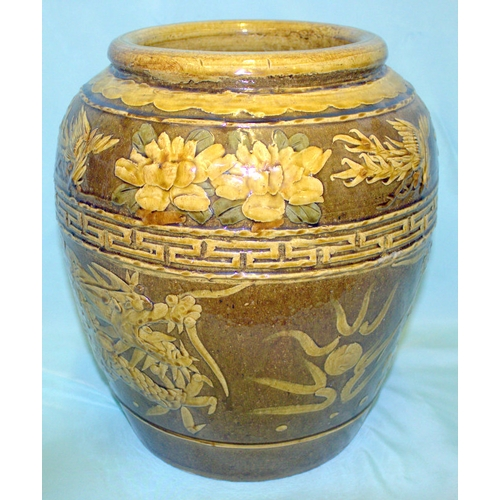 338 - Antique Chinese Slipware Wine Jar Of Large Size, Decorated In Brown Glaze, Raised Decoration, Dragon...
