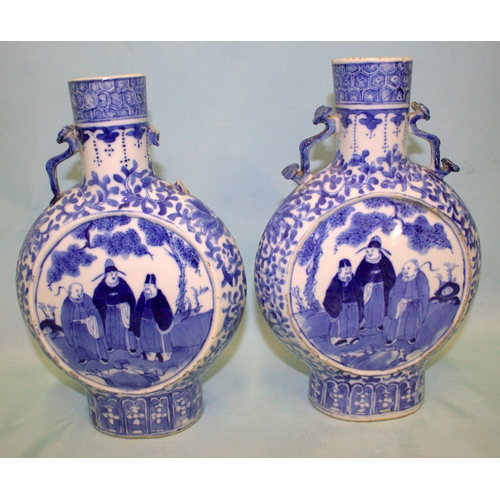 332 - Pair Of Early 19thC Chinese Pilgrim Dhaped Vase, With Unusual Ruyi Shaped Handles, Finely Decorated ...