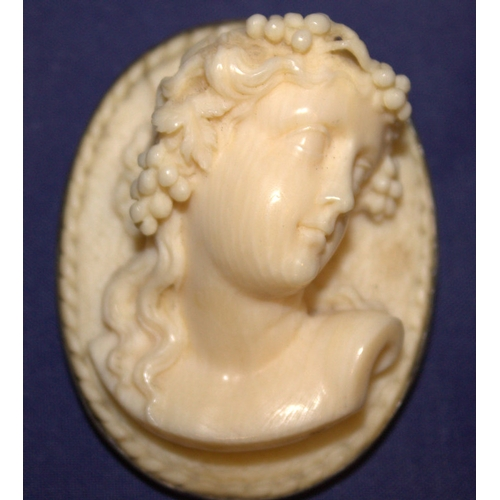18 - Victorian High-Relief Work Ivory Cameo In Silver Mount, Depicting A Bacchante, Approx 55x42mm, See P...