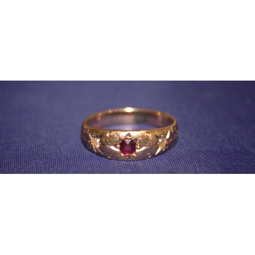 24 - 18ct Gold Gypsy Ring With Central Garnet With Seed Pearls To Each Side, Unmarked, Tests High Carat, ...