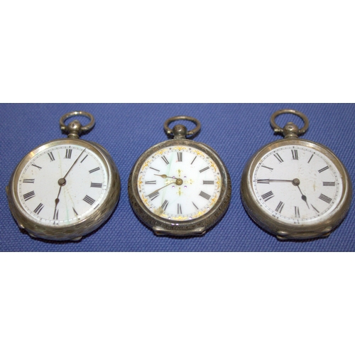 36 - Three Ladies Silver Fob Watches A/F...