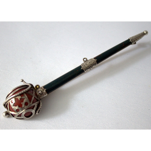 48 - A Scottish Agate Set Brooch, Mounted in Silver Modelled In The Form Of A Basket Hilted Broadsword, m...