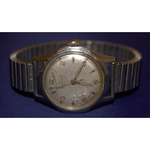 55 - Gents Atlantic Duomatic Champion Wristwatch, Incabloc 17 Jewels, Numbered 59576 To Back, Working...