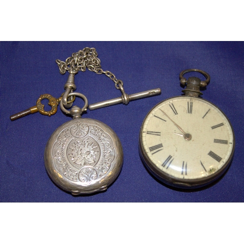 93 - 2 Silver Pocket Watches, One Fusee, White Enamel Dial, Roman Numerals, Gilt Hands, Movement Stamped ...