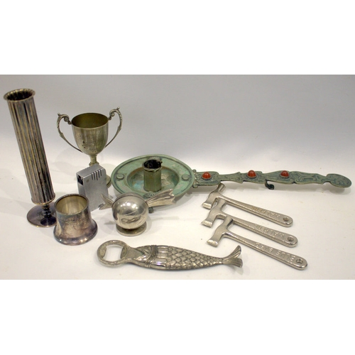106 - Mixed Lot Of Collectable Metalware To Include A Bottle Opener In The Form Of A Fish, An Alpaca Candl...