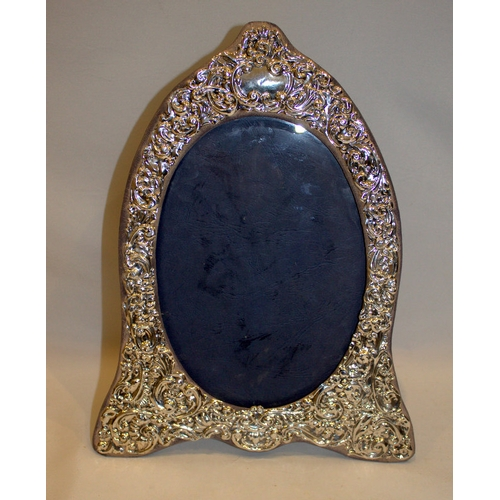 107 - Large Silver Fronted Ornate Picture Frame, Scroll Design, Oval Centre, Velour Back And Strut, Fully ...