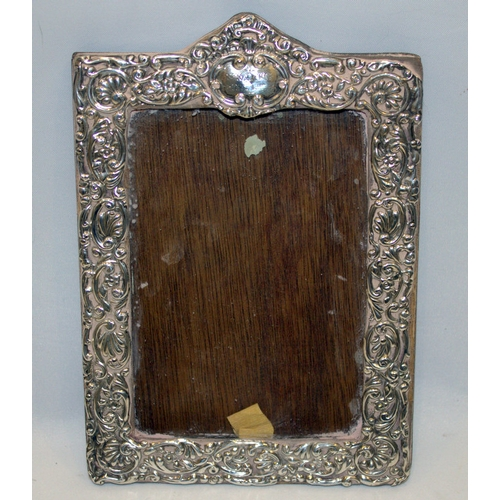 108 - Silver Fronted Ornate Picture Frame, Scroll & Floral Design, Rectangular Centre, Wooden Back, Fully ...