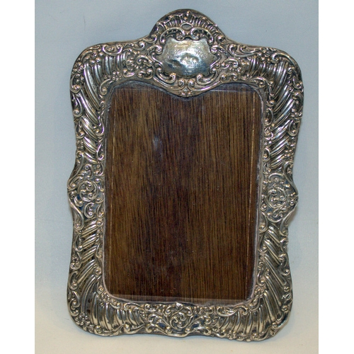109 - Silver Fronted Ornate Picture Frame, Scroll Design, Wooden Back, Fully Hallmarked For Birmingham a 1...