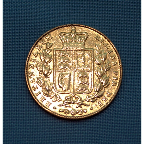 114 - 1842 Victorian Gold Sovereign, Shield Back, Unbarred A's in GRATIA...
