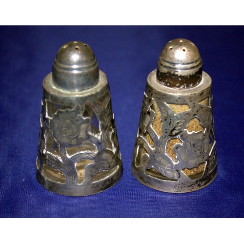 127 - Mexican 925 Silver Overlay Glass Salt and Pepper Shakers, Approx 58mm Tall...