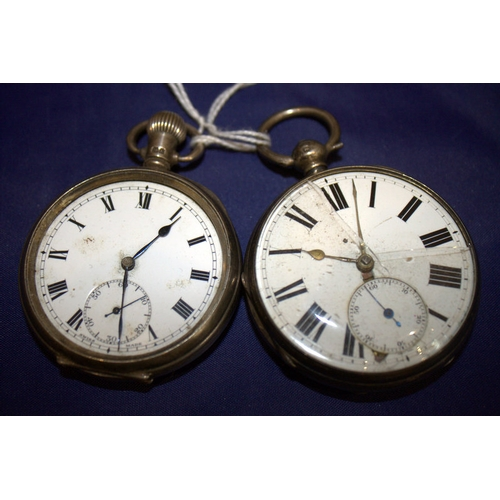 141 - Two Silver Open Faced Pocket Watches, Both With White Enamelled Dials, Roman Numerals And Subsidiary...