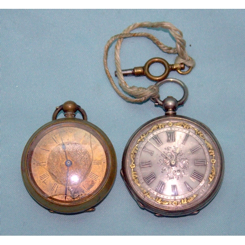 151 - 2 Ladies Pocket Watches To Include A Fine Silver Fancy Silver Dial Watch And A Gilt Metal Watch, Cas...
