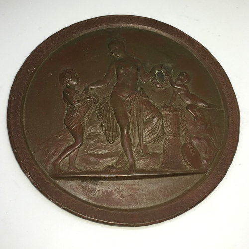 155 - Large 19th Century Terracotta Medallion / Plaque Showing a goddess standing next to a wheatsheaf bei...